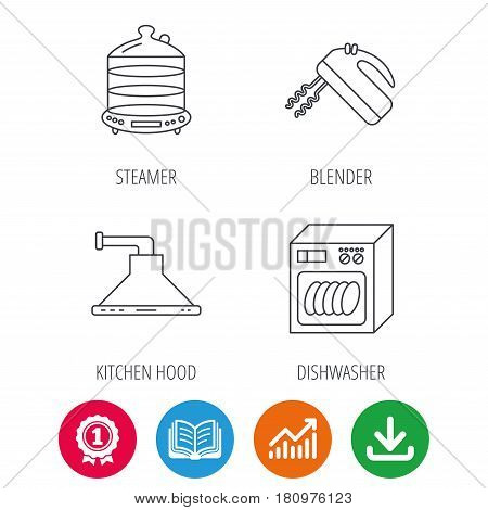 Dishwasher, kitchen hood and mixer icons. Steamer linear sign. Award medal, growth chart and opened book web icons. Download arrow. Vector