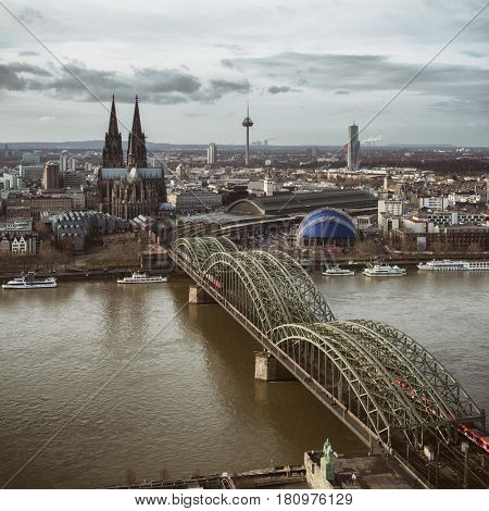 View of the Cologne Cathedral and Hohenzollern Bridge, looking from Koln Triangle tower,