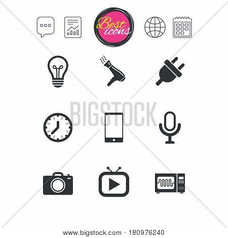 Chat speech bubble, report and calendar signs. Home appliances, device icons. Electronics signs. Lamp, electrical plug and photo camera symbols. Classic simple flat web icons. Vector