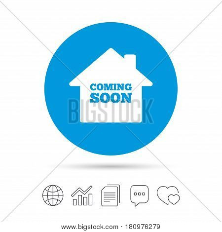 Homepage coming soon sign icon. Promotion announcement symbol. Copy files, chat speech bubble and chart web icons. Vector