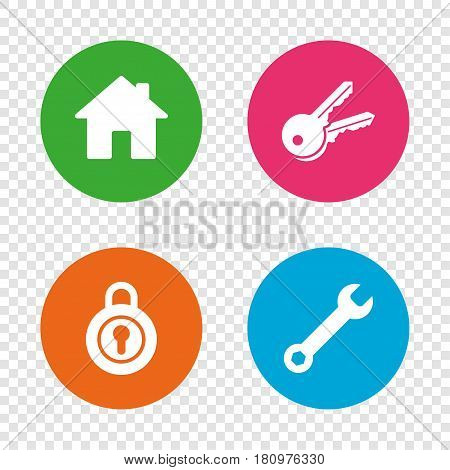 Home key icon. Wrench service tool symbol. Locker sign. Main page web navigation. Round buttons on transparent background. Vector