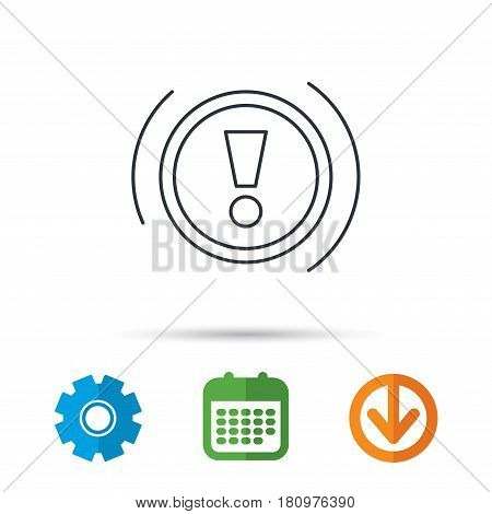 Warning icon. Dashboard attention sign. Caution exclamation mark symbol. Calendar, cogwheel and download arrow signs. Colored flat web icons. Vector