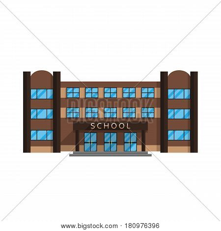 School building is isolated in the Flat style on a white background vector illustration. Elementary and secondary education, the building where the acquired character education for your projects.