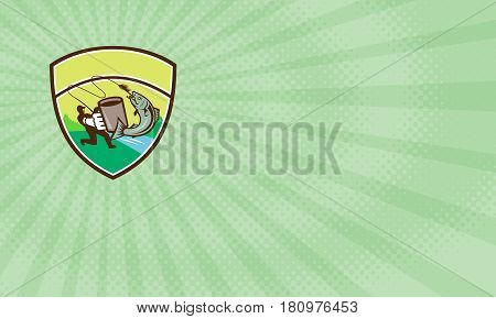 Business card showing Illustration of a fly fisherman fishing holding mug hooking salmon jumping viewed from the side set inside shield crest with river sea and trees in the background done in retro style.