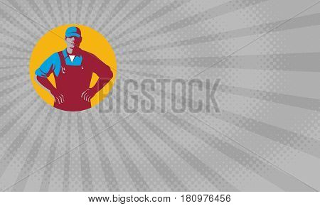 Business card showing Illustration of an organic farmer wearing hat and overalls with hands on hips akimbo facing front set inside circle done in retro style.