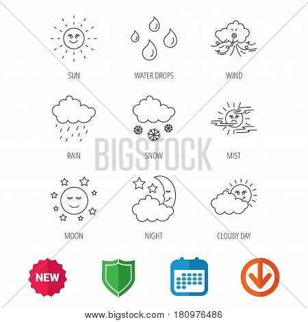 Weather, sun and rain icons. Moon night, clouds and mist linear signs. Wind, cloudy day and water drops flat line icons. New tag, shield and calendar web icons. Download arrow. Vector