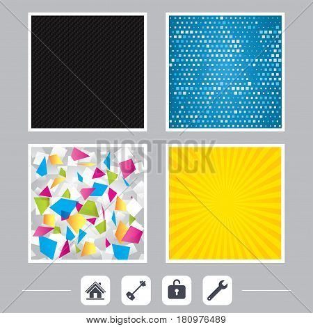 Carbon fiber texture. Yellow flare and abstract backgrounds. Home key icon. Wrench service tool symbol. Locker sign. Main page web navigation. Flat design web icons. Vector