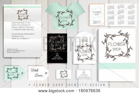 Flowers Shop corporate identity template design set. Business stationery. Vector mock up. Company style for brandbook and guideline with organic logo.