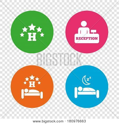 Five stars hotel icons. Travel rest place symbols. Human sleep in bed sign. Hotel check-in registration or reception. Round buttons on transparent background. Vector