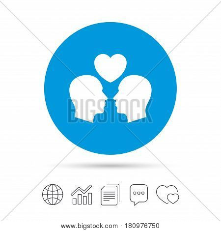 Gay couple sign icon. Male love male. Romantic homosexual relationships with heart. Copy files, chat speech bubble and chart web icons. Vector