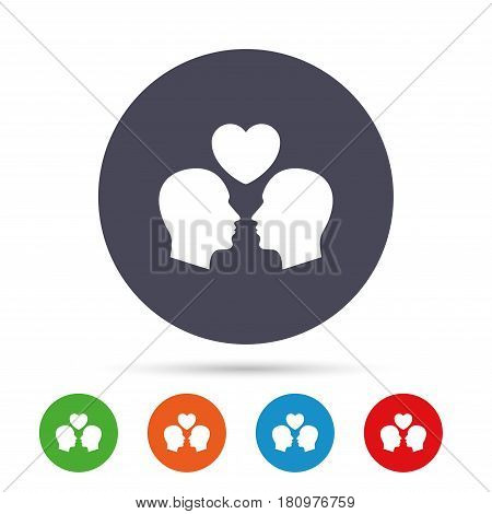 Gay couple sign icon. Male love male. Romantic homosexual relationships with heart. Round colourful buttons with flat icons. Vector