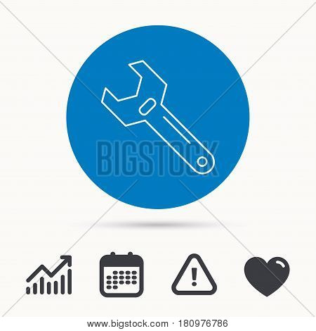 Wrench key icon. Adjustable repair tool sign. Calendar, attention sign and growth chart. Button with web icon. Vector