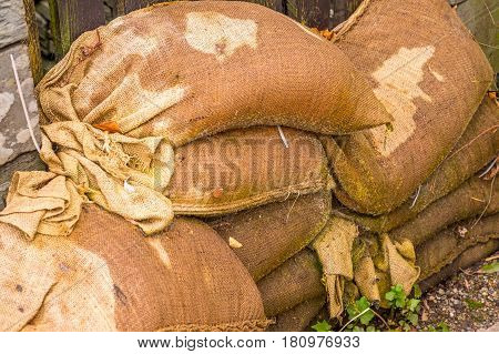 Wall Of Sandbags Outside Front Door Of House