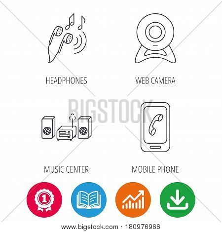 Smartphone, web camera and headphones icons. Music center linear sign. Award medal, growth chart and opened book web icons. Download arrow. Vector
