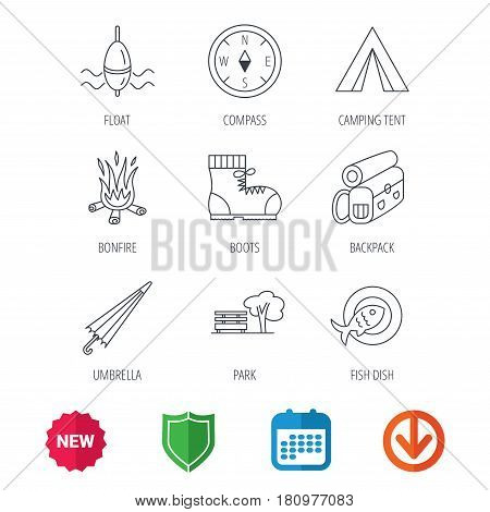 Park, fishing float and hiking boots icons. Compass, umbrella and bonfire linear signs. Camping tent, fish dish and tree icons. New tag, shield and calendar web icons. Download arrow. Vector