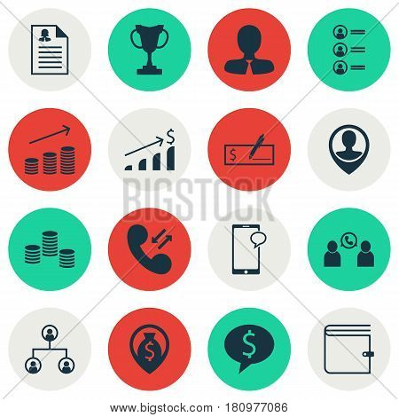 Set Of 16 Human Resources Icons. Includes Money Navigation, Coins Growth, Money And Other Symbols. Beautiful Design Elements.