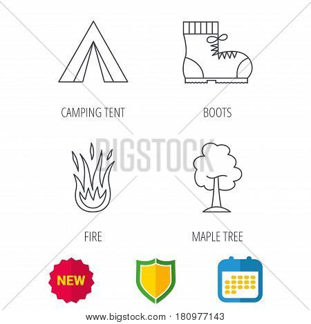 Maple tree, camping tent and hiking boots. Fire flame linear sign. Shield protection, calendar and new tag web icons. Vector