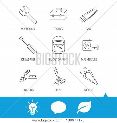 Wrench key, screwdriver and paint brush icons. Toolbox, nippers and saw linear signs. Finishing spatula icon. Light bulb, speech bubble and leaf web icons. Vector