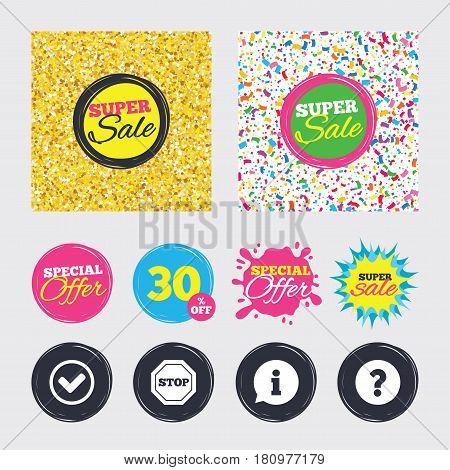 Gold glitter and confetti backgrounds. Covers, posters and flyers design. Information icons. Stop prohibition and question FAQ mark signs. Approved check mark symbol. Sale banners. Vector