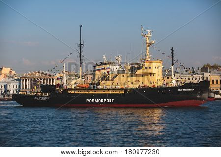 Massive russian icebreaker ice-breaker ship in Saint-Petersburg, Russia