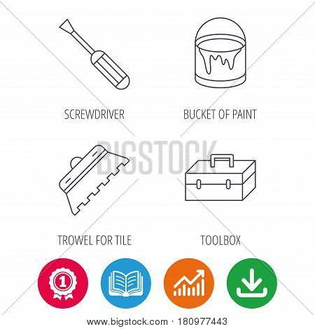 Screwdriver, trowel of tile and repair toolbox icons. Bucket of paint linear sign. Award medal, growth chart and opened book web icons. Download arrow. Vector