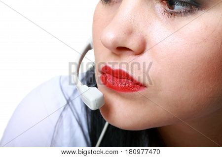 young brunette girl with headphones isolated on white