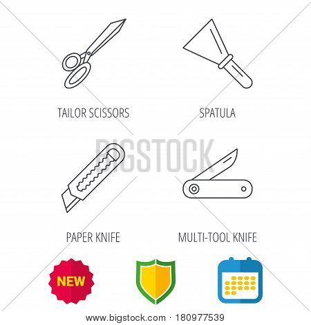 Paper knife, spatula and scissors icons. Multi-tool knife linear sign. Shield protection, calendar and new tag web icons. Vector