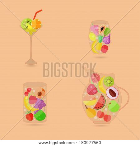 Various Fruits in Different GlassWares as a Image of Fruit Beverages. Vector EPS 10