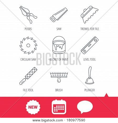 Trowel for tile, saw and brush tool icons. Level and file tool, bucket of paint linear signs. Plunger, pliers icons. New tag, speech bubble and calendar web icons. Vector
