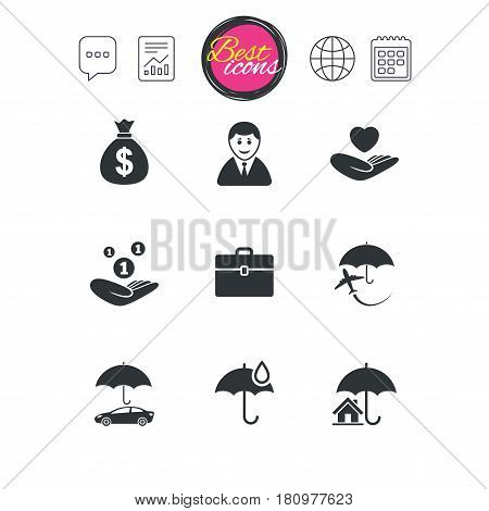 Chat speech bubble, report and calendar signs. Insurance icons. Life, Real estate and House signs. Saving money, vehicle and umbrella symbols. Classic simple flat web icons. Vector