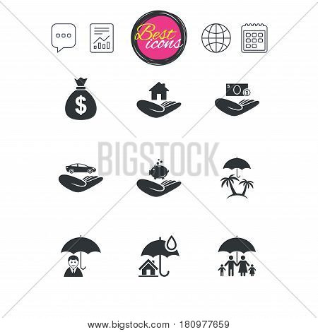 Chat speech bubble, report and calendar signs. Insurance icons. Life, Real estate and House signs. Money bag, family and travel symbols. Classic simple flat web icons. Vector