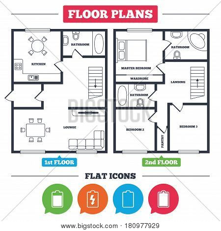Architecture plan with furniture. House floor plan. Battery charging icons. Electricity signs symbols. Charge levels: full, empty. Kitchen, lounge and bathroom. Vector
