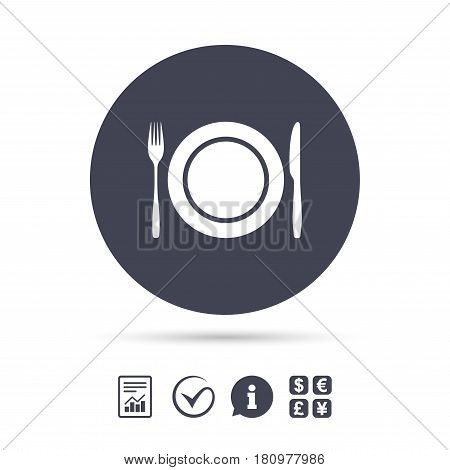 Plate dish with fork and knife. Eat sign icon. Cutlery etiquette rules symbol. Report document, information and check tick icons. Currency exchange. Vector
