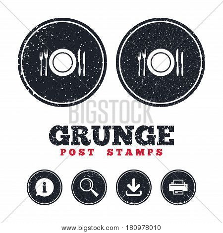 Grunge post stamps. Plate dish with forks and knifes. Eat sign icon. Cutlery etiquette rules symbol. Information, download and printer signs. Aged texture web buttons. Vector