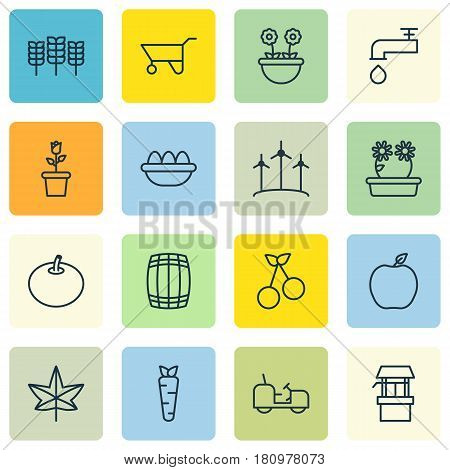 Set Of 16 Agriculture Icons. Includes Floweret, Wheelbarrow, Ovum And Other Symbols. Beautiful Design Elements.