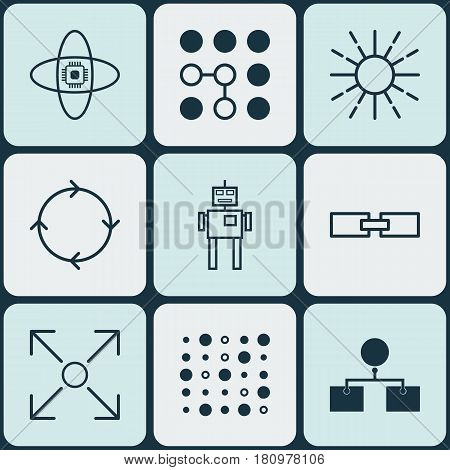 Set Of 9 Machine Learning Icons. Includes Analysis Diagram, Related Information, Lightness Mode And Other Symbols. Beautiful Design Elements.