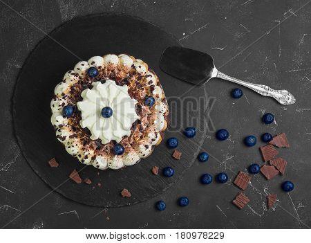 Chocolate-berry Savoyardi Ice-cream cake torte. Ingredients for blueberry ice cream cake torte and chocolate pieces. Dark black background. Top view from above and copy space.