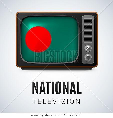 Vintage TV and Flag of Bangladesh as Symbol National Television. Button with Bangladeshi flag