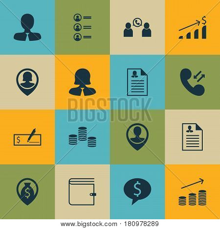 Set Of 16 Hr Icons. Includes Pin Employee, Employee Location, Female Application And Other Symbols. Beautiful Design Elements.