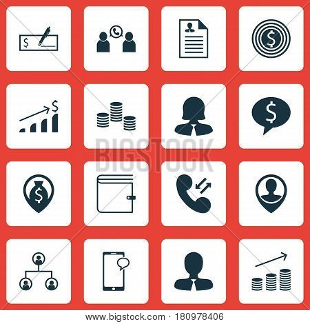 Set Of 16 Hr Icons. Includes Coins Growth, Manager, Business Goal And Other Symbols. Beautiful Design Elements.