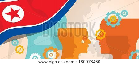 North Korea or Democratic People s Republic of Korea concept of thinking growing innovation discuss country future brain storming under different view represented with heads gears and flag vector.