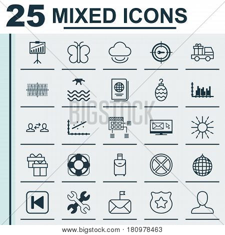 Set Of 25 Universal Editable Icons. Can Be Used For Web, Mobile And App Design. Includes Elements Such As Identification Document, Sunrise, Sinus Graph And More.