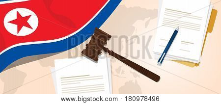 North Korea or Democratic People s Republic of Korea law constitution legal judgment justice legislation trial concept using flag gavel paper and pen vector