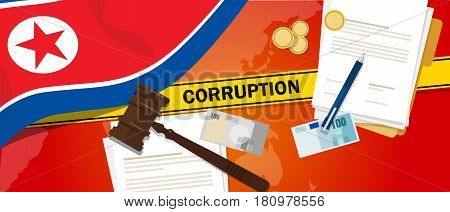 North Korea or Democratic People s Republic of Korea corruption money bribery financial law contract police line for a case scandal government official vector