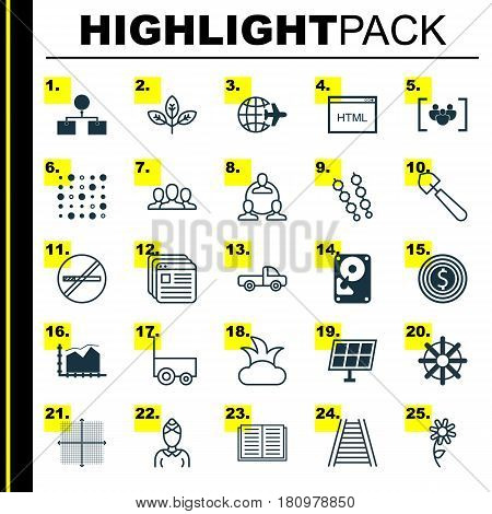 Set Of 25 Universal Editable Icons. Can Be Used For Web, Mobile And App Design. Includes Elements Such As Hdd, Scoop, Analysis Diagram And More.