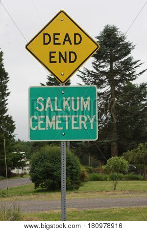Twice Dead Tongue-in-cheek Road Sign for a Cemetery