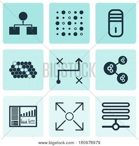 Set Of 9 Machine Learning Icons. Includes Branching Program, Analysis Diagram, Variable Architecture And Other Symbols. Beautiful Design Elements.