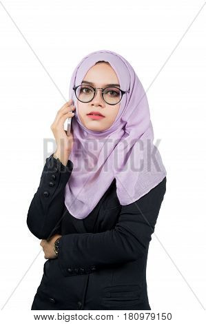 Beautiful modern Asian Muslim business woman portrait isolated on white background.