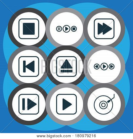 Set Of 9 Audio Icons. Includes Gramophone, Following Song, Following Music And Other Symbols. Beautiful Design Elements.