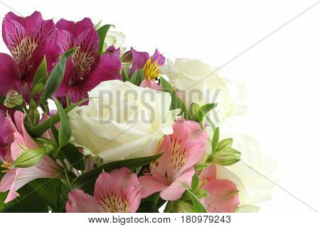 Bouquet of big white roses and pink and lilac alstroemeria flowers isolated on white background